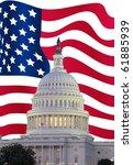 Stock photo us capitol with usa flag in background 61885939