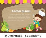cute kids meal menu vector... | Shutterstock .eps vector #618880949