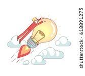 businessman riding bright big... | Shutterstock .eps vector #618891275