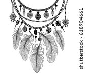 illustration with a necklace.... | Shutterstock .eps vector #618904661
