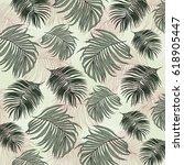tropical leaves | Shutterstock . vector #618905447