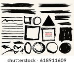 vector set of black brush... | Shutterstock .eps vector #618911609