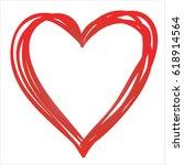 red hand drawn heart on white... | Shutterstock .eps vector #618914564