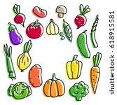 set vegetables tomato  pumpkin...   Shutterstock .eps vector #618915581