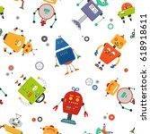 robots seamless pattern.... | Shutterstock .eps vector #618918611