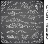 dark vector set of swirl... | Shutterstock .eps vector #618918791
