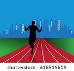 silhouette of marathon runner | Shutterstock .eps vector #618919859