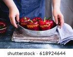 stuffed bell peppers before...   Shutterstock . vector #618924644