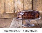 homemade chocolate cake on... | Shutterstock . vector #618928931