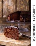 slice of homemade chocolate...   Shutterstock . vector #618928949