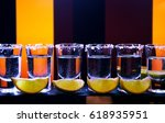 shot drink set with citrus... | Shutterstock . vector #618935951