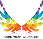 multicolored futuristic wings... | Shutterstock .eps vector #618940109