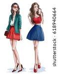 two stylish beautiful girls... | Shutterstock .eps vector #618940664