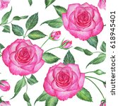 seamless floral pattern with... | Shutterstock . vector #618945401