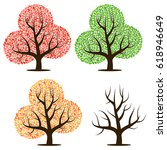 four trees with green  red ... | Shutterstock .eps vector #618946649