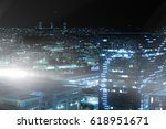 high angle view of illuminated... | Shutterstock . vector #618951671