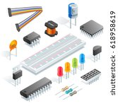 isometric electronic components ... | Shutterstock .eps vector #618958619