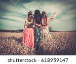 multi ethnic hippie girls in a... | Shutterstock . vector #618959147