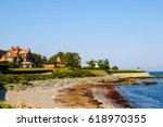 cliff walk in newport  rhode... | Shutterstock . vector #618970355