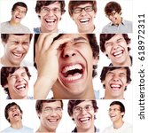 happy laughing face close up of ... | Shutterstock . vector #618972311