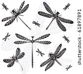 dragonfly illustrated | Shutterstock . vector #61897891