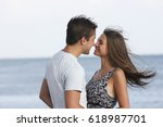 beautiful loving guy and girl... | Shutterstock . vector #618987701