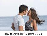 beautiful loving guy and girl...   Shutterstock . vector #618987701