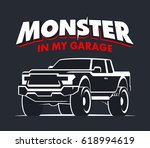 monster truck garage logo.... | Shutterstock .eps vector #618994619