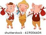 cartoon three little pigs | Shutterstock .eps vector #619006604
