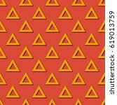 retro triangles pattern.... | Shutterstock .eps vector #619013759
