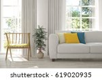 white room with sofa and green... | Shutterstock . vector #619020935