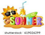 summer funny background with... | Shutterstock . vector #619026299