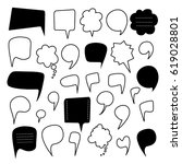 speech bubbles hand drawn... | Shutterstock . vector #619028801