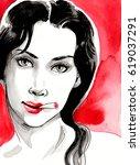 smoking woman | Shutterstock . vector #619037291