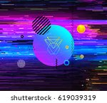 retro video cassette glitch... | Shutterstock .eps vector #619039319