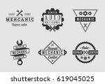 auto mechanic logo set white... | Shutterstock .eps vector #619045025