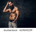 shirtless bearded male with... | Shutterstock . vector #619045259