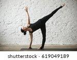 young yogi attractive woman... | Shutterstock . vector #619049189
