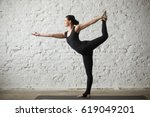 young yogi attractive woman... | Shutterstock . vector #619049201