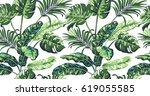 tropical palm leaves background.... | Shutterstock .eps vector #619055585