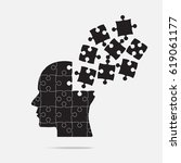 vector silhouette head puzzle... | Shutterstock .eps vector #619061177