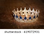 royal luxury gold crown with... | Shutterstock . vector #619072931