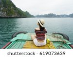 a young traveler girl sit on a... | Shutterstock . vector #619073639