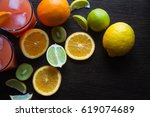 fresh juice with fruits on table | Shutterstock . vector #619074689