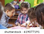 kindergarten craft activity.  | Shutterstock . vector #619077191