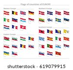 set of national wavy flags on... | Shutterstock .eps vector #619079915