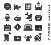 communication icons  black... | Shutterstock .eps vector #619081775