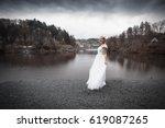 Woman In Wedding Dress Standin...