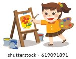 cute artist girl painting... | Shutterstock .eps vector #619091891