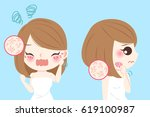 cartoon woman with skin dry and ... | Shutterstock .eps vector #619100987
